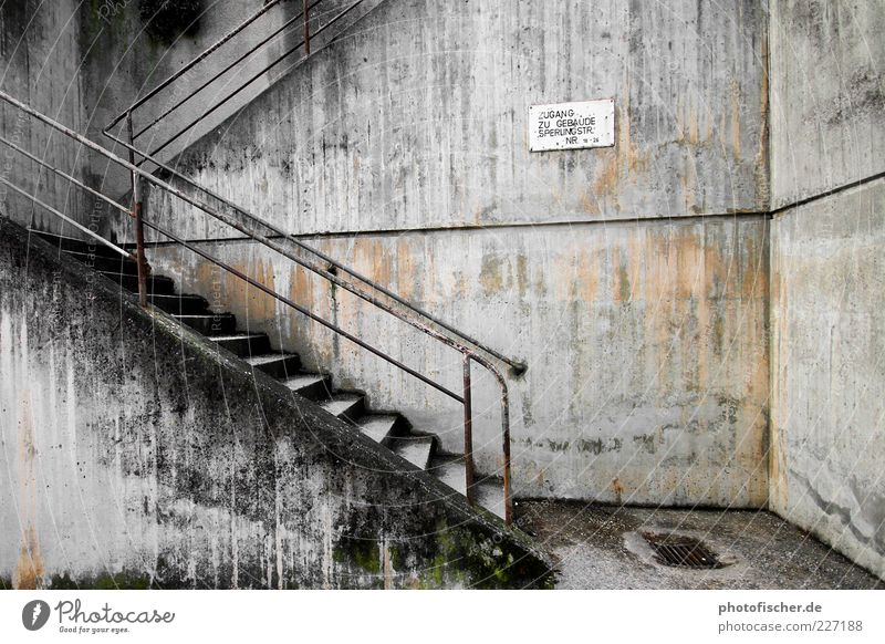 Boredom Art Wall (barrier) Wall (building) Stairs Concrete Rust Sadness Subdued colour Exterior shot Abstract Contrast Banister Signs and labeling Gloomy