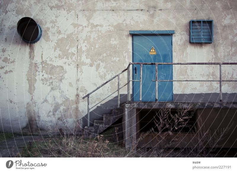 I'll take the yellow envelope. Industrial plant Building Wall (barrier) Wall (building) Stairs Facade Door Old Gloomy Dry Blue Gray Decline Past