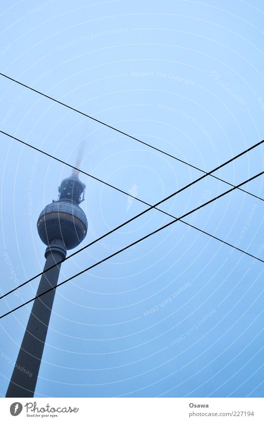/ X Cable Sky Clouds Fog Capital city Tower Building Architecture Road junction Crucifix Blue Berlin TV Tower Television tower Alexanderplatz Middle