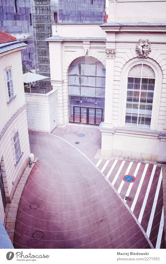 High angle view of a narrow street in Vienna. Town Building Architecture Facade Street Violet Esthetic City Vantage point wall urban roof vintage filtered