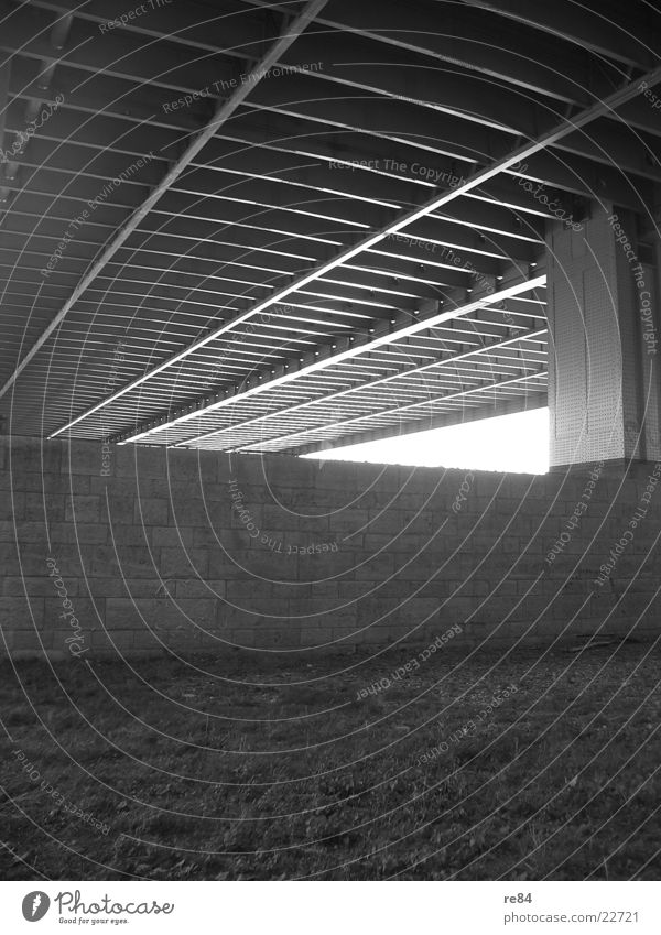 under the bridge Cologne Severins bridge Under Steel Raw Iron Concrete Gray Black White Bridge Rhine Perspective Shadow Stone Cologne-Deutz