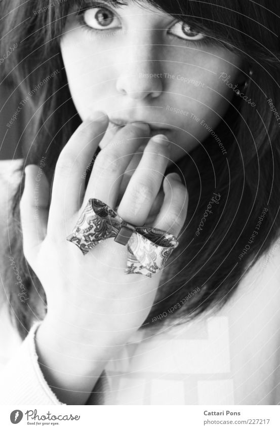natural Feminine Young woman Youth (Young adults) Hand 1 Human being Accessory Jewellery Ring Bow Touch Think Looking Fingers Eyes Black & white photo