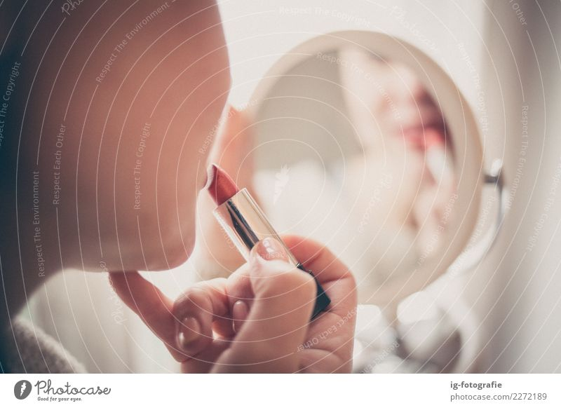 woman putting on lipstick in the mirror Woman Human being Colour Red Girl Emotions Feminine Esthetic Lipstick Mirror image