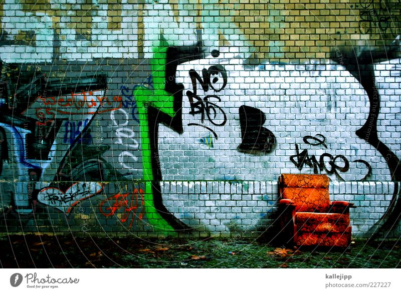 Old Green Red House (Residential Structure) Wall (building) Graffiti Wall (barrier) Orange Sign Furniture Shabby Silver Armchair Ghetto Bolster Subculture