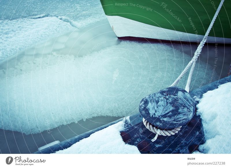 Blue Water Calm Winter Environment Cold Snow Lie Watercraft Ice Climate Rope Elements Frost Harbour Firm