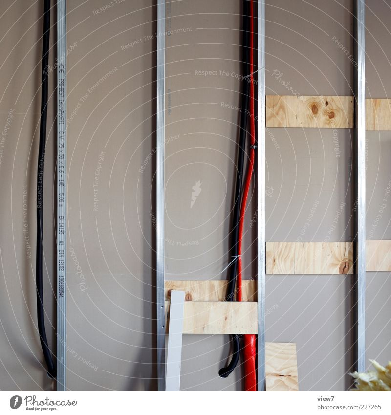 Wall (building) Wall (barrier) Metal Line Room Modern Interior design New Stripe Cable Construction site Uniqueness Simple Moving (to change residence)
