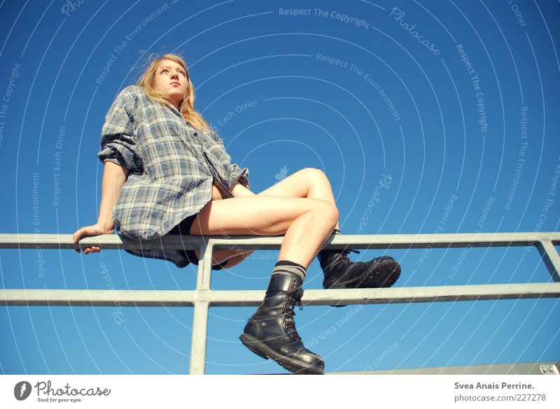 , Feminine Young woman Youth (Young adults) Legs 1 Human being 18 - 30 years Adults Fashion Shirt Blonde Long-haired Thin Beautiful Combat boots Cloudless sky