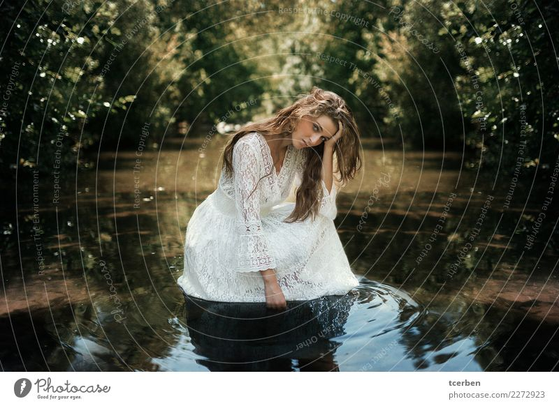 Portrait of a young woman wearing a white lace dress on a river Human being Youth (Young adults) Young woman Summer White Sun Calm 18 - 30 years Adults Natural