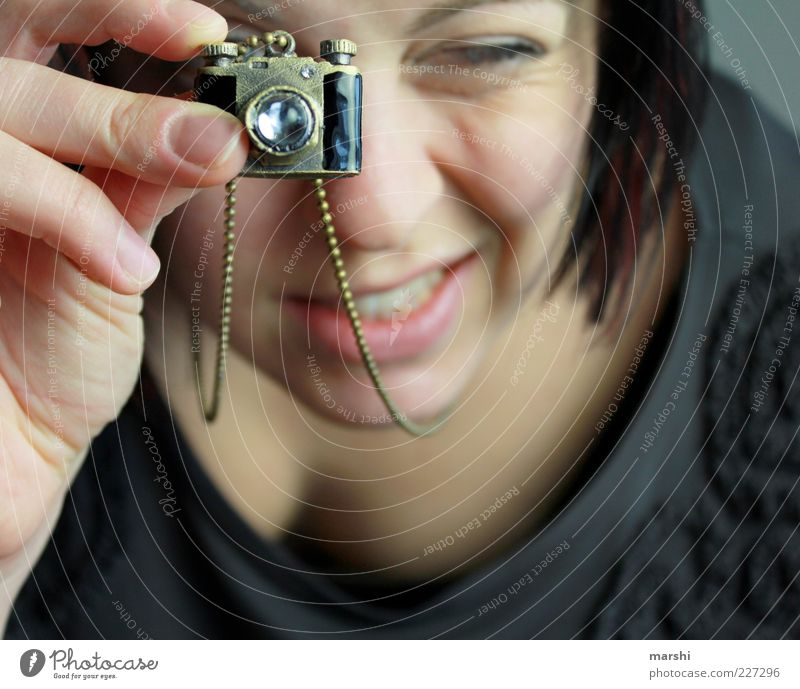 my new camera Style Leisure and hobbies Human being Feminine Woman Adults Head 1 Small Camera Chain Necklace Pendant Jewellery Take a photo Passion Sweet Retro