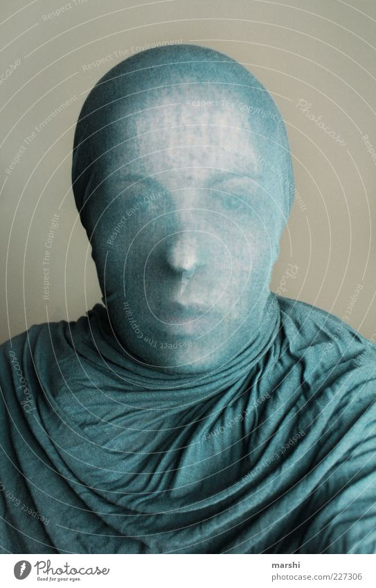 Sculpture II Style Human being Feminine Woman Adults Head 1 Blue Rag Cloth Packaged Sheath Wrap Anonymous Vail Abstract Colour photo Interior shot Envelop