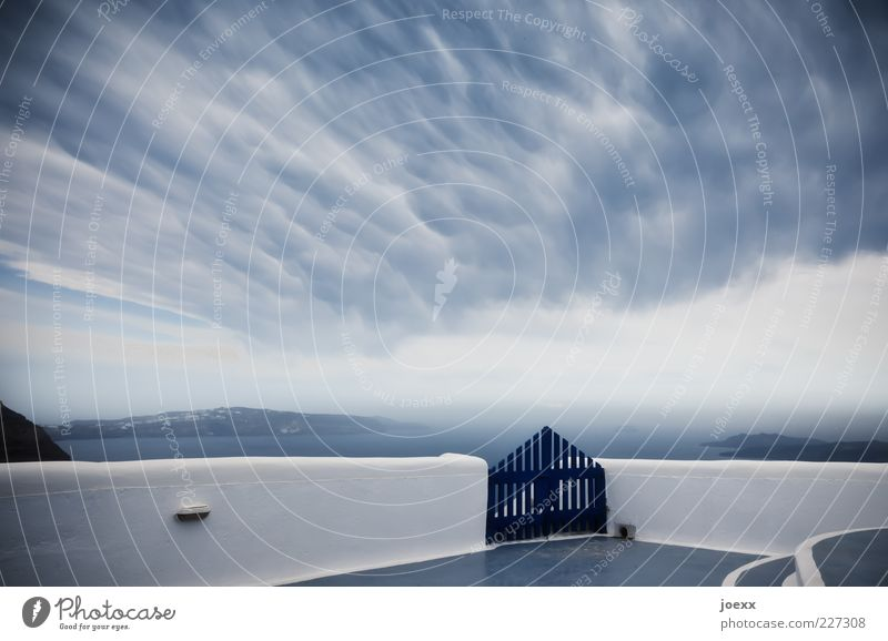 gates of heaven Sky Clouds Climate Weather Wall (barrier) Wall (building) Blue Gray White Moody Gate Santorini Strange Colour photo Exterior shot Deserted Day