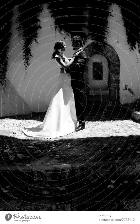 Just married couple together Happy Beautiful Feasts & Celebrations Wedding Human being Young woman Youth (Young adults) Young man Woman Adults Man Couple 2
