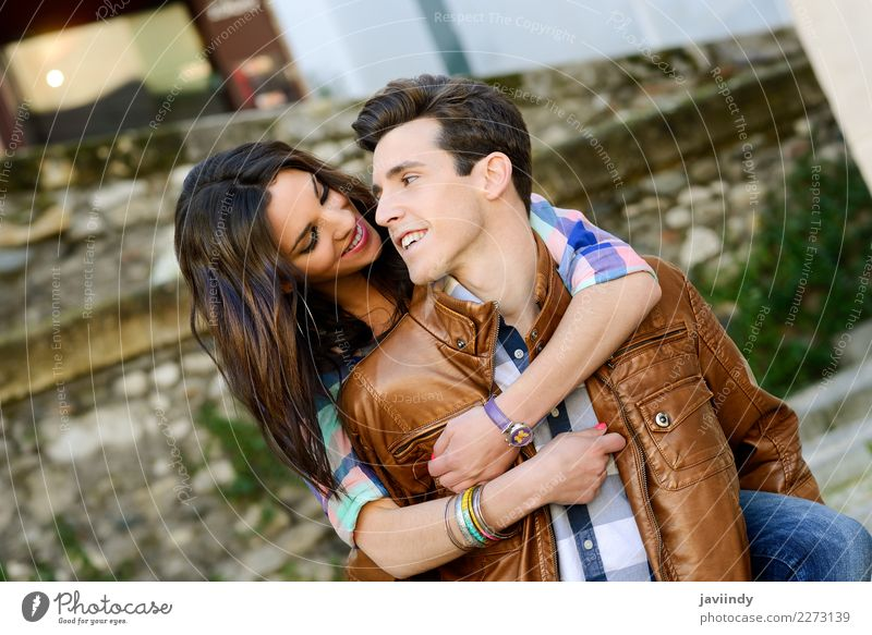 Young couple in urban background Lifestyle Joy Human being Masculine Feminine Young woman Youth (Young adults) Young man Woman Adults Man Couple 2 18 - 30 years