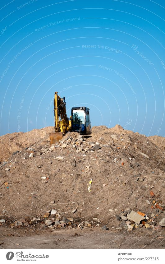 Sand Stone Work and employment Transience Decline Destruction Workplace Dismantling Excavator Building rubble Building for demolition