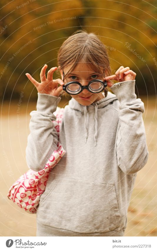 Child Girl Joy Life Funny Infancy Exceptional Study Eyeglasses Uniqueness Posture Curiosity Carnival Whimsical Student 8 - 13 years
