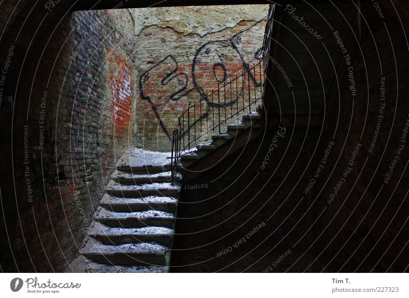 staircases Deserted House (Residential Structure) Ruin Manmade structures Wall (barrier) Wall (building) Stairs Decline Past Transience Sanitarium Graffiti