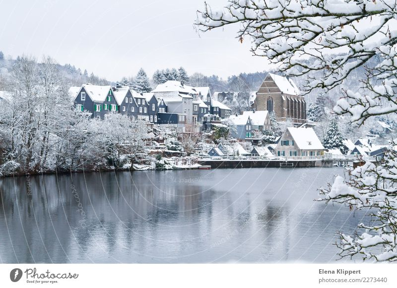 Wuppertal-Beyenburg in the snow, Germany. Winter Nature Water Weather Beautiful weather Snow Lake Reservoir Europe Village Town Old town Deserted