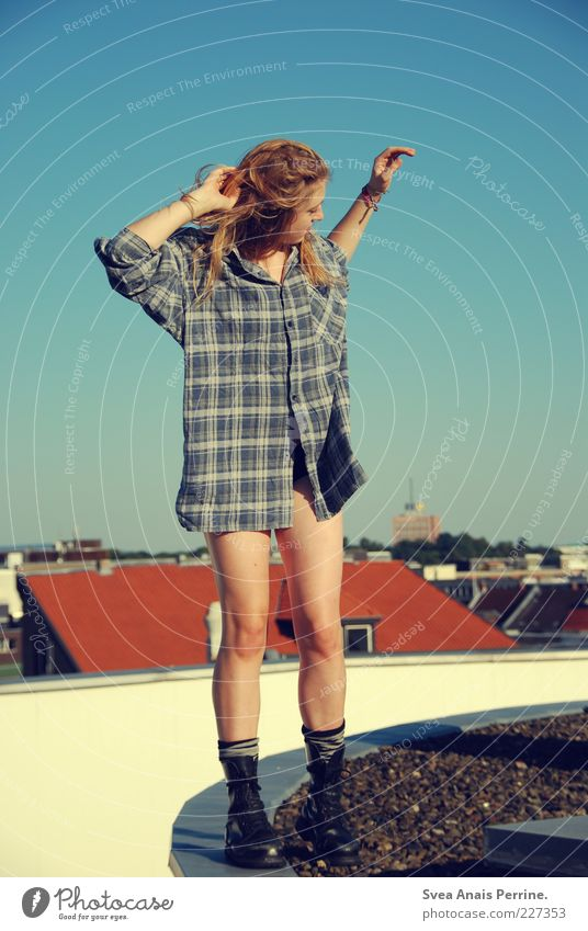 Human being Youth (Young adults) Blue Beautiful House (Residential Structure) Feminine Adults Style Legs Blonde Going Fashion Wild Lifestyle Cool (slang) Thin