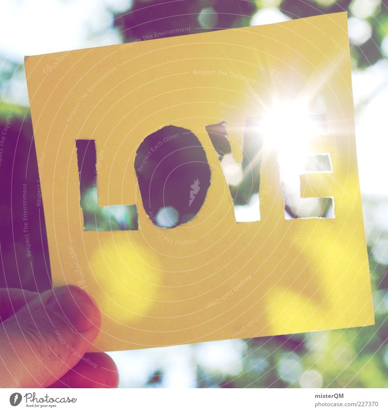 Nature Sun Summer Love Yellow Emotions Lighting Back-light Piece of paper Sunlight Indicate Brilliant Spring fever Love of nature Display of affection Capital letter