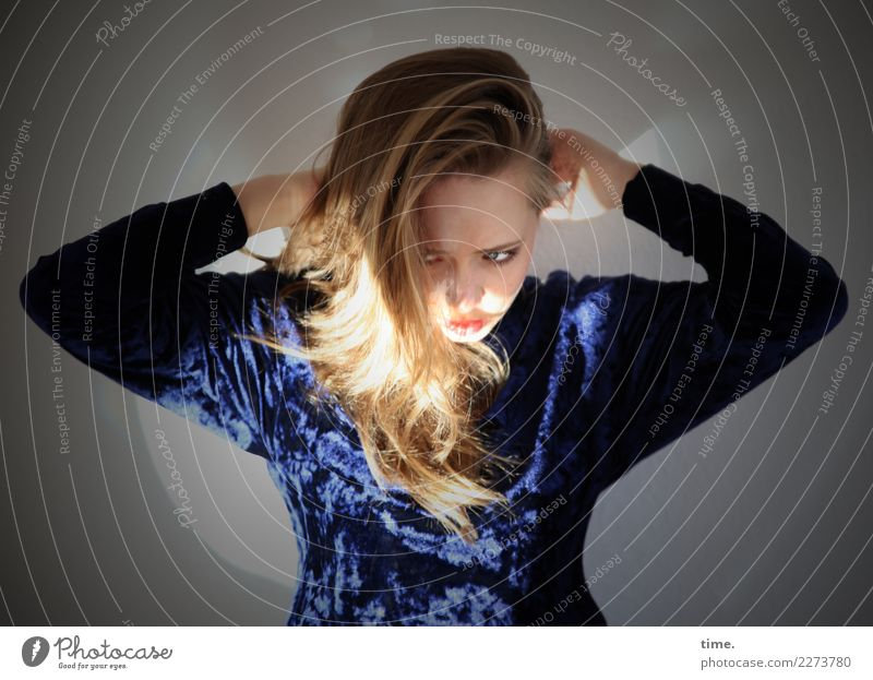 Human being Youth (Young adults) Young woman Beautiful Dark Life Feminine Movement Hair and hairstyles Illuminate Blonde Stand Observe To hold on Anger