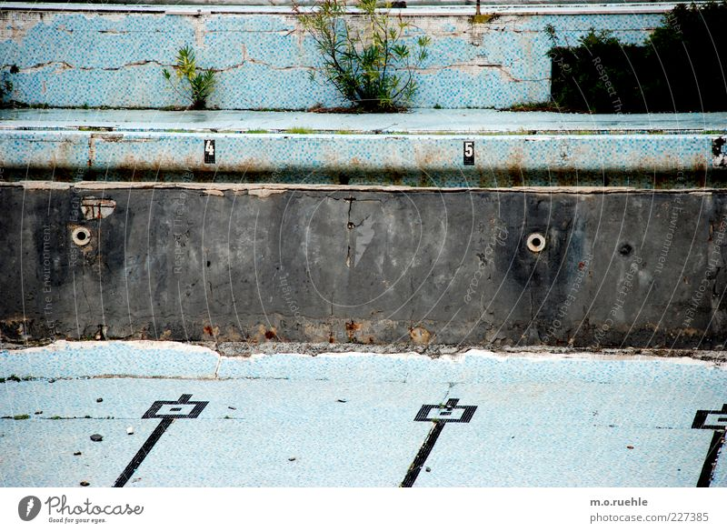 on old tracks Swimming pool Wall (barrier) Wall (building) Stone Old Esthetic Broken Wet Retro Blue End Symmetry Decline Past Transience Change Destruction