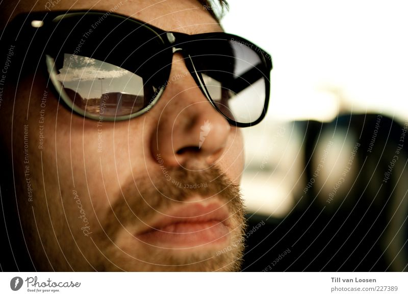 sunglasses Masculine Man Adults 1 Human being 18 - 30 years Youth (Young adults) Sky Beautiful weather Accessory Brunette Facial hair Moustache Breathe Looking