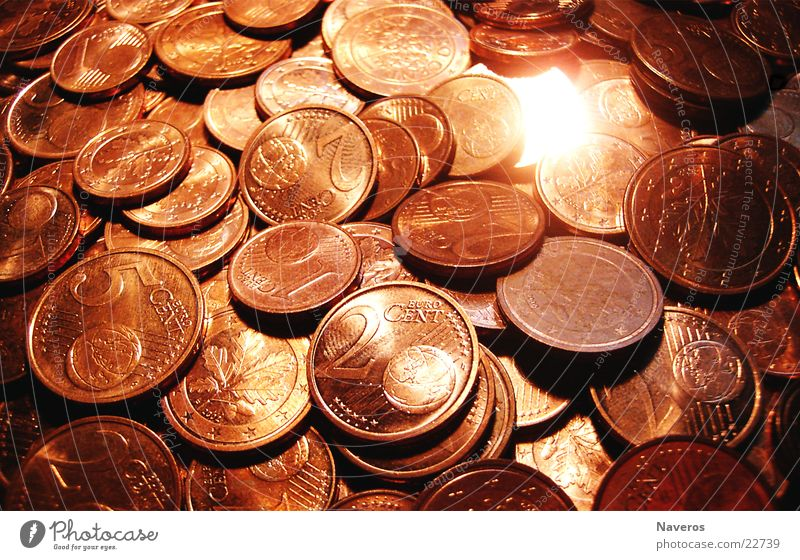 Money rules the world Cent Coin Glittering Red Good luck charm Euro Copper Metal Orange Happy