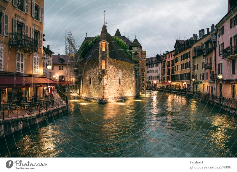 Annecy by night, France Lifestyle Vacation & Travel Tourism Trip City trip Art Savoie Europe Village Small Town Port City Downtown Old town Pedestrian precinct