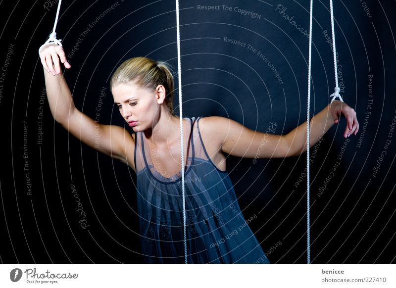 Woman Human being Feminine Sadness Blonde Rope Might Posture Doll Distress Testing & Control Escape Captured Work and employment Earnest Hopelessness