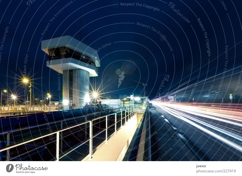 Blue White Red Yellow Street Bridge Tower Driving Handrail Traffic infrastructure Navigation Street lighting Road traffic Roadside Tracer path Overview