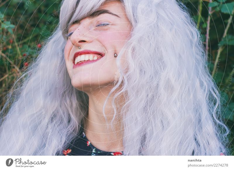 Young woman with white hair is smiling Lifestyle Style Design Exotic Beautiful Hair and hairstyles Skin Face Freckles Wellness Well-being Human being Feminine