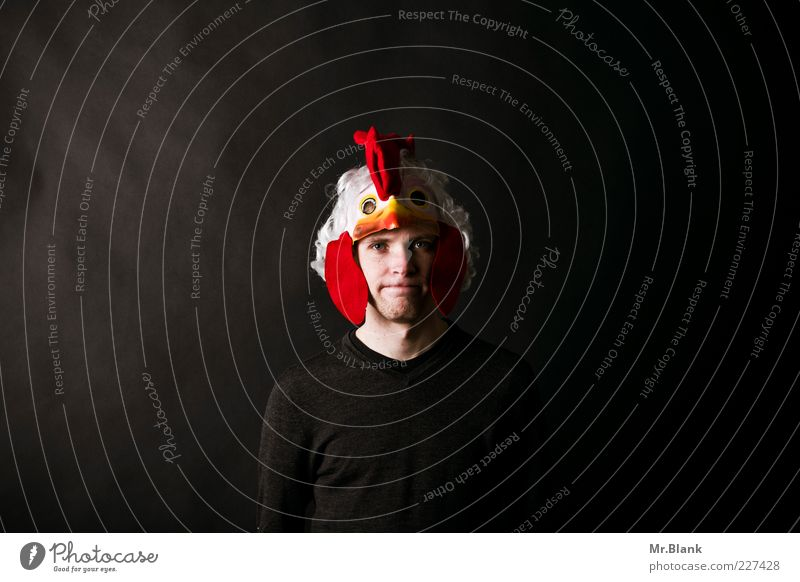 The cock in the basket Elegant Style Human being Masculine Young man Youth (Young adults) 1 18 - 30 years Adults Sweater Mask Costume Rooster Cockscomb Looking