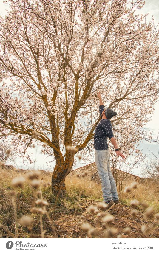 Young man touching a blossoming tree Human being Nature Youth (Young adults) Man Plant Summer Beautiful Tree Joy Adults Life Lifestyle Environment Autumn
