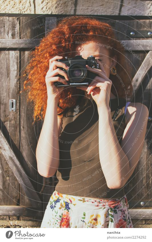 Young redhead woman taking shots with her analog camera Lifestyle Style Leisure and hobbies Photography Photographer Camera Vacation & Travel Tourism Trip