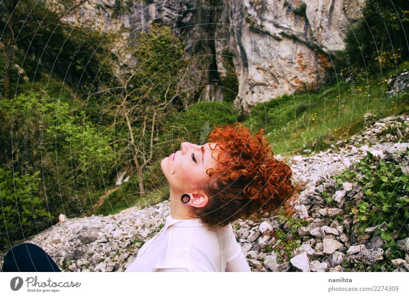Young redhead woman breathing pure air in nature Human being Nature Vacation & Travel Youth (Young adults) Young woman Beautiful Green Landscape Relaxation