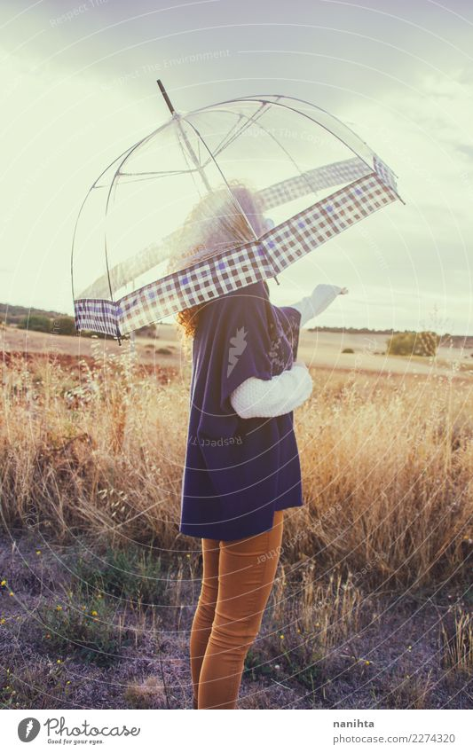 Young woman outdoors with her umbrella Human being Nature Youth (Young adults) Summer 18 - 30 years Adults Life Lifestyle Environment Autumn Healthy Natural