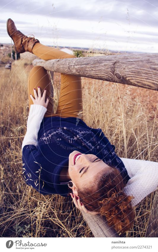 Young redhead woman enjoying an autumn day Lifestyle Joy Wellness Harmonious Well-being Relaxation Vacation & Travel Tourism Adventure Far-off places Freedom