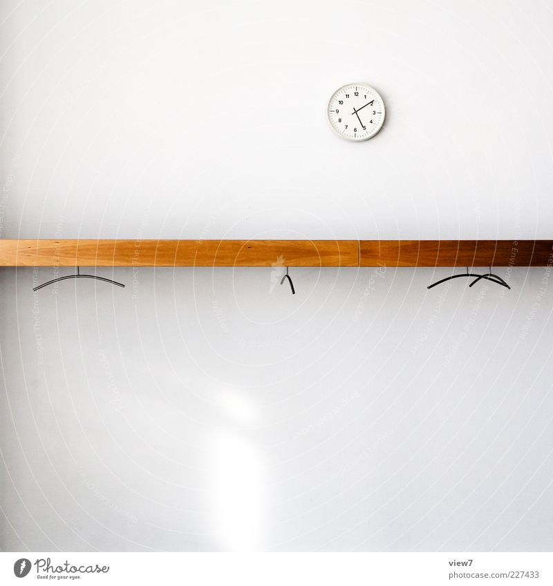 White Wood Style Office Small Line Brown Room Time Fresh Modern Empty Clock Authentic New Stripe