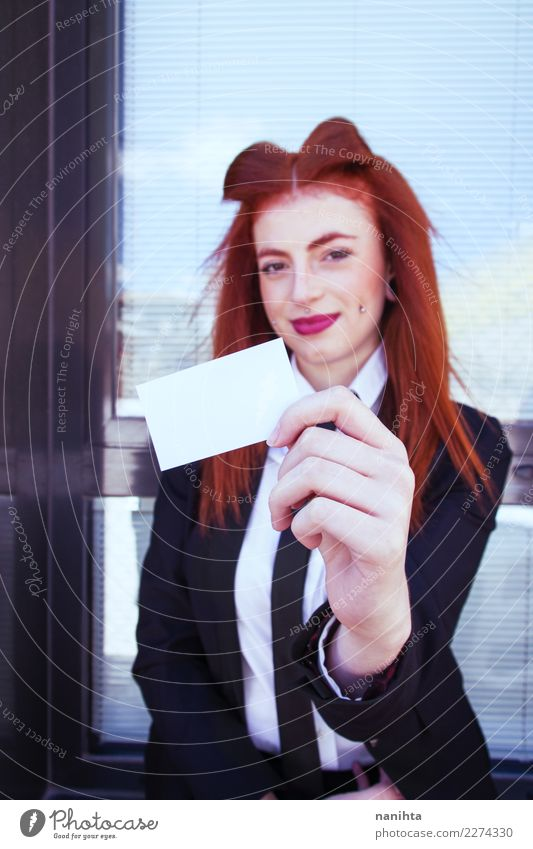 Young business woman showing a blank card Lifestyle Elegant Style Joy Beautiful Work and employment Profession Office work Trade Business Success Human being