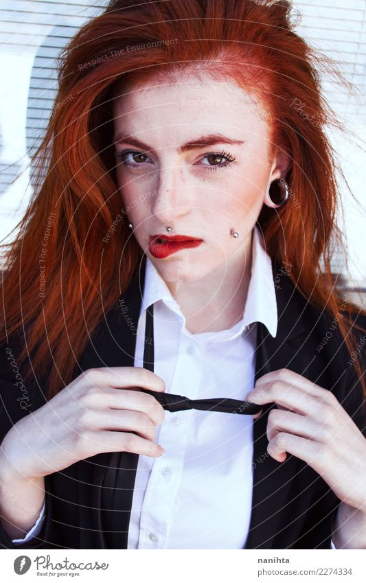Young sensual and redhead woman Lifestyle Elegant Style Exotic Beautiful Hair and hairstyles Skin Face Flirt Human being Feminine Young woman