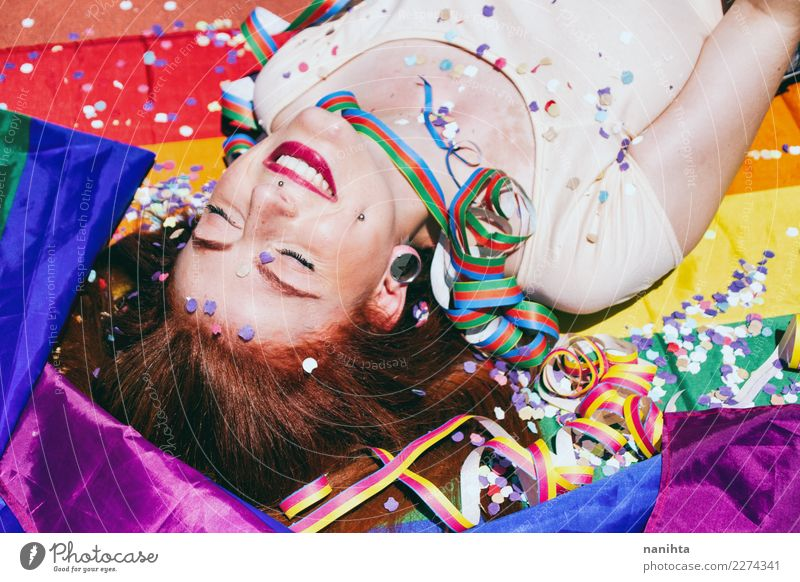 Young woman enjoying a gay pride party Human being Youth (Young adults) Beautiful Relaxation Joy 18 - 30 years Adults Life Lifestyle Feminine Style
