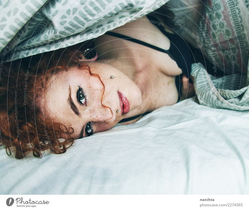 Young redhead woman waking up Lifestyle Style Beautiful Hair and hairstyles Skin Face Freckles Wellness Well-being Relaxation Calm Bed Human being Feminine