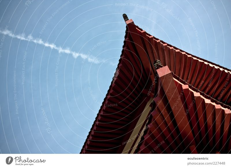 Sky Blue Red House (Residential Structure) Tall Aviation Corner Living or residing Roof Asia China Exotic Capital city Sharp-edged Vapor trail