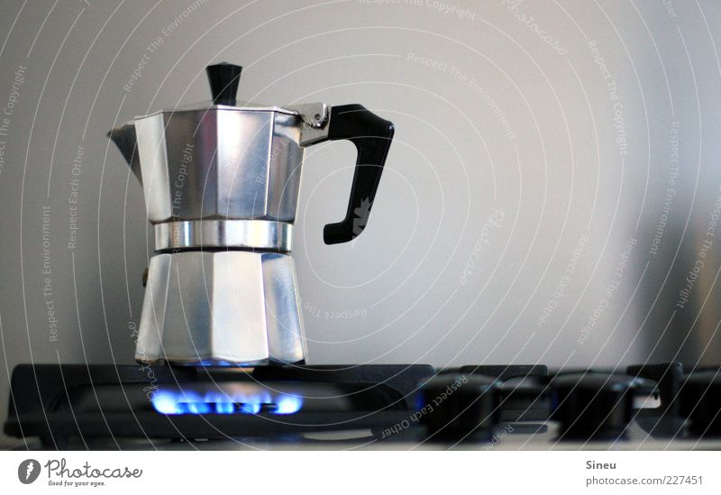Morgenlatte in work Food Beverage Hot drink Coffee Latte macchiato Espresso Espresso maker Coffee pot Fragrance Silver Cooking Stove & Oven Gas Gas stove Flame