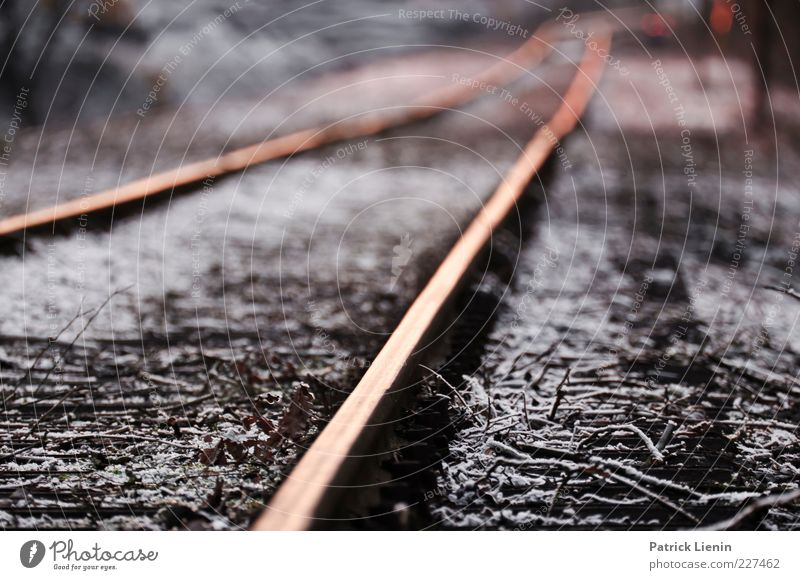 Old Calm Far-off places Cold Environment Transport Ground Driving Infinity Railroad tracks Dam Right ahead Rail transport Shut down Railroad system