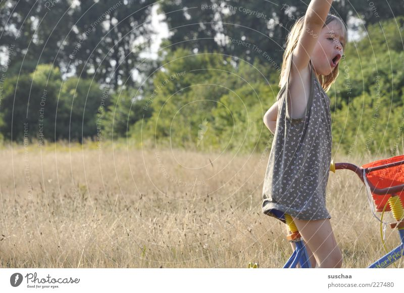 Human being Child Nature Girl Summer Joy Face Landscape Meadow Movement Legs Funny Infancy Bicycle Arm Skin