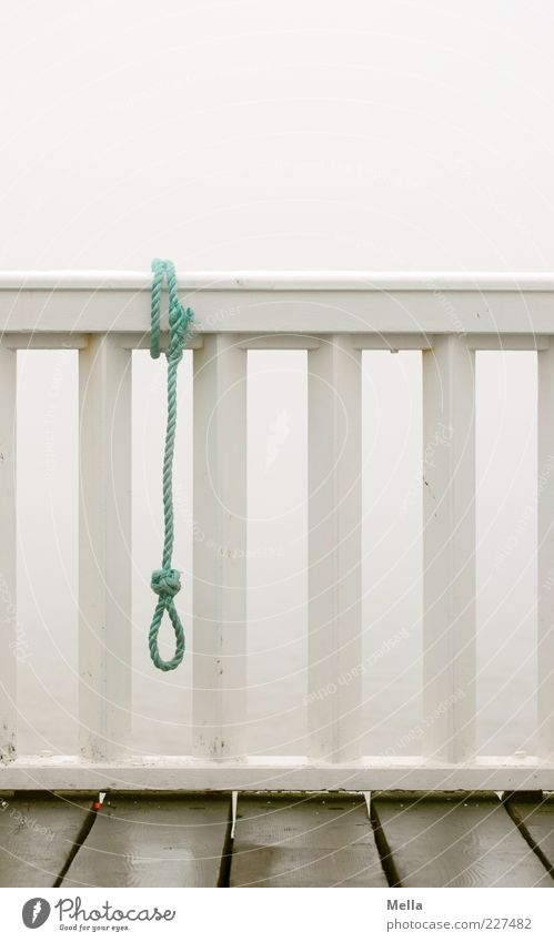 Loneliness Sadness Emotions Gray Moody Gloomy Sign Rope String Handrail Fear of the future Balcony End Hang Distress Bridge railing