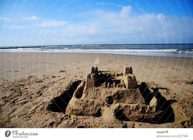 Nature Vacation & Travel Summer Beach Ocean Playing Freedom Landscape Waves Leisure and hobbies Beautiful weather Children's game Sandcastle