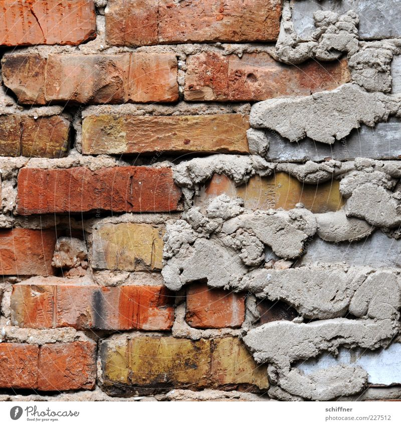 One lift, please! Wall (barrier) Wall (building) Facade Old Redevelop Prime Mortar Brick Brick wall Weathered Construction site building trade Craft (trade)