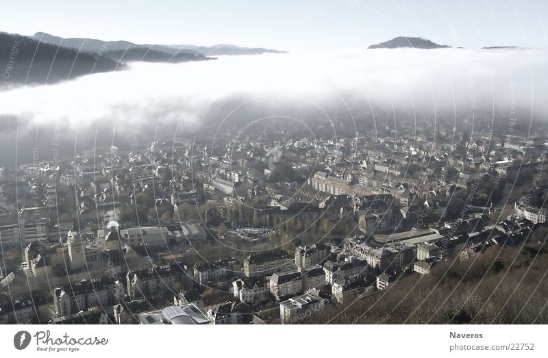 Nature City Clouds House (Residential Structure) Far-off places Cold Autumn Above Gray Building Weather Fog Tall Gloomy Threat Idyll